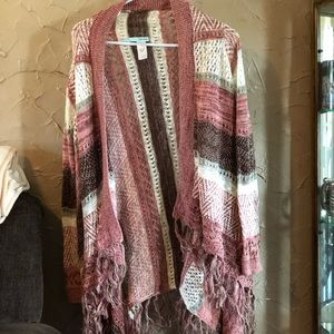 Maurice's striped cardigan with fringed bottom